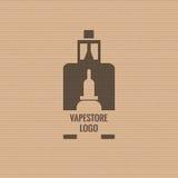 Vape商店商标在纸板纹理背景的模板设计 E香烟和e液体瓶邮票或T恤杉 库存照片