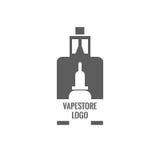 Vape商店商标模板设计 E香烟和e液体瓶盖印或T恤杉印刷品 免版税库存图片