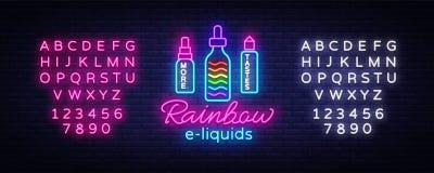 Vape商店商标氖传染媒介 彩虹e液体概念, Vape霓虹灯广告设计模板,轻的横幅,明亮的夜 向量例证