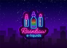 Vape商店商标氖传染媒介 彩虹e液体概念, Vape霓虹灯广告设计模板,轻的横幅,明亮的夜 库存例证