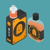 Vape设备象有鬼魂剪影的 与e液体瓶的电子香烟 传染媒介Vaping标志 库存照片