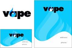 Vape,蒸气酒吧商标,名片,飞行物设计 库存照片