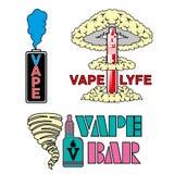 Vape bar. Vape shop and bar Isolated logos on white background. Set of vape, e-cigarette emblems, labels, prints and logos Royalty Free Stock Photo