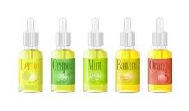 VAPE bottles with liquid. Photo realistic illustration e-liquid with fruit icons VAPE shop. Vector Royalty Free Stock Photo
