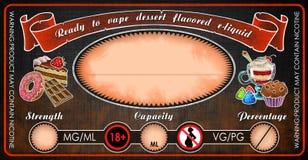 Vape dessert flavored e-cigarettes e-liquid juice bottle vial label template. Vape e-cigarettes universal template label for bottle vial with dessert flavored  e Stock Photos