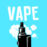 Vape device and smoke vector illustration on blue Royalty Free Stock Photography