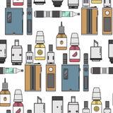 Vape device vector cigarette vaporizer vapor juice vape bottle flavor illustration battery coil electronic nicotine. Vape device vector cigarette vaporizer vapor Stock Photos