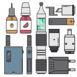 Vape device vector cigarette vaporizer vapor juice vape bottle flavor illustration battery coil electronic nicotine. Vape device vector cigarette vaporizer vapor Stock Image
