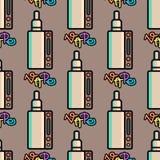Vape device vector cigarette vaporizer vapor juice seamless pattern bottle flavor illustration battery coil. Stock Photo