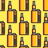 Vape device vector cigarette vaporizer vapor juice seamless pattern bottle flavor illustration battery coil. Stock Photos