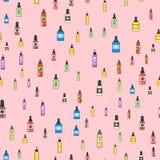 Vape device vector seamless pattern cigarette vaporizer vapor juice bottle flavor illustration battery coil. Stock Photography