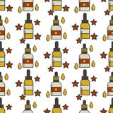 Vape device vector seamless pattern cigarette vaporizer vapor juice bottle flavor illustration battery coil. Royalty Free Stock Photography