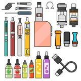 Vape device vector set cigarette vaporizer vapor juice bottle flavor illustration battery coil. Royalty Free Stock Photo