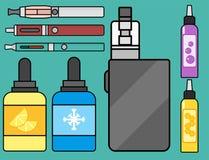 Vape device vector set cigarette vaporizer vapor juice bottle flavor illustration battery coil. Royalty Free Stock Photos