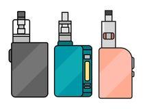 Vape device vector set cigarette vaporizer vapor juice bottle flavor illustration battery coil. Stock Photos