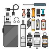 Vape device vector set cigarette vaporizer vapor juice bottle flavor illustration battery coil. Royalty Free Stock Images