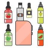 Vape device vector set cigarette vaporizer vapor juice bottle flavor illustration battery coil. Stock Image