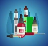 Vape device vector set. Vaping juice for vape. Vape trend new cu Royalty Free Stock Photos
