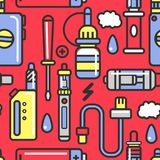 Vape devices and accessories with flavored steam seamless pattern. Alternative smoking tools and electronic cigarettes isolated cartoon vector illustration Royalty Free Stock Photos