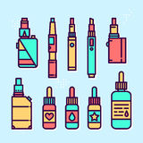 Vape devices and liquids vector graphic style icon set Stock Photos