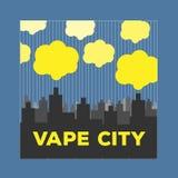 Vape elettronico vaping della sigaretta della città di logo Immagini Stock