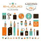 Vape etykietki, papieros i owocowe smak ikony, ilustracja wektor
