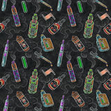 Vape-ezigarettensaft bewölkt nahtloses Muster der Farbkreide stockfotos