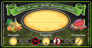 Vape fruity flavored e-cigarettes e-liquid juice bottle vial label template. Vape e-cigarettes universal template label for bottle vial with fruity flavored e royalty free illustration