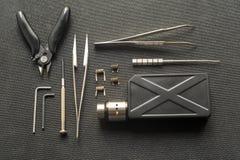 Vape Hjälpmedel för reparation och underhåll av den elektroniska cigaretten royaltyfri foto