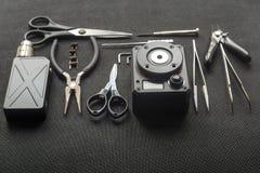 Vape Hulpmiddelen voor reparatie en onderhoud van de elektronische sigaret royalty-vrije stock afbeelding