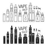Vape icons set Royalty Free Stock Photography