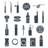 Vape icons set stock images