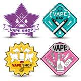 Vape life. Vape shop and bar  logos on white background. Set of vape, e-cigarette emblems, labels, prints and logos Stock Photos