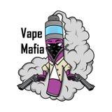 Vape mafia illustration. Vaping juice for vape. Royalty Free Stock Images