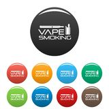 Vape man smoking icons set color vector illustration