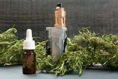 Free Vape Pen And Medical Marijuana Hemp Bud. CBD And THC Oil Vaping Products Stock Photography - 160824992