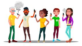 Vape People Vector. Person With Vaporizer Vaping Together. Hipster Addiction. Cloud. Illustration vector illustration