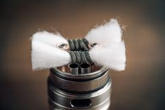 Vape RDA  for vaping with coils and cotton royalty free stock photo