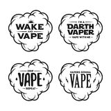 Vape related t-shirt vintage designs set. Quotes about vaping. Vector illustration. Stock Photography