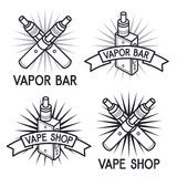Vape shop and bar logos Royalty Free Stock Images