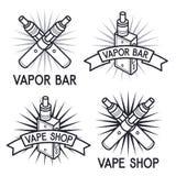 Vape shop and bar logos. Vape shop and bar emblems Royalty Free Stock Images