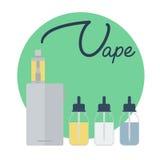 Vape shop concept. Vape with vapor steam lettering Stock Photos