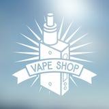 Vape shop logo. On blurred background Royalty Free Stock Photos