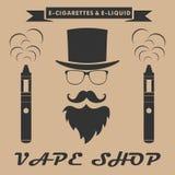 Vape shop logo. hipster with electronic cigarette. Vape shop ban Royalty Free Stock Photo