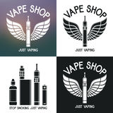 Vape shop logo. Icons e-cigarette and accessories Stock Images