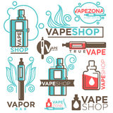 Vape shop logos templates vector icons set Stock Photos