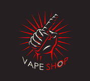 Vape shop logotype. Vape shop badge, logo or symbol design concept. Can be used for advertising vape shop, electronic cigarettes store. Vector illustration Stock Photography