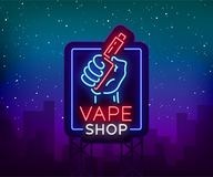 Vape shop neon sign, billboard. Vector illustration. Neon sign, a night glowing banner selling electronic cigarettes. Night advensing vape store royalty free illustration