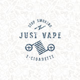 Vape shop seamless pattern and label Stock Images