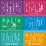 Vape shop. Set of elements for Vapor bar and vape shop, electronic cigarette icon, no smoke. Line modern Flat design icon vector illustration set for your web Royalty Free Stock Photos